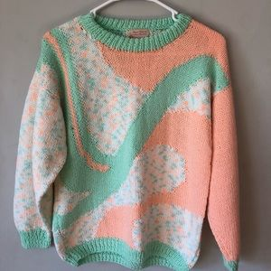 Vintage Hand Knit Sweater Mint and Coral Womens